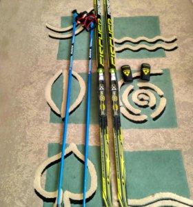 Лыжи Fischer RCS Skate Jr 162 и палки astra