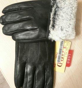 Мужские кожаные ( экокожа )  перчатки , .