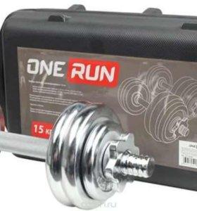 Набор гантелей в кейсе OneRun 15 кг хром