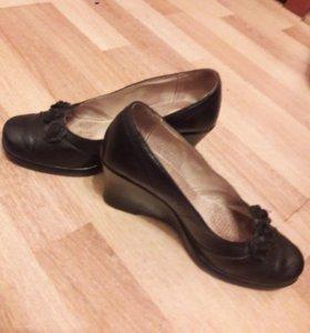 туфли кожаные на платформе