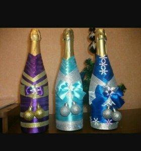 Украшение праздничных бутылок
