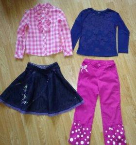 Вещи пакетом штаны юбка блузы на девочку 116 см