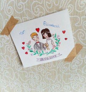 Красивые открытки, миниатюрные картинки акварелью.