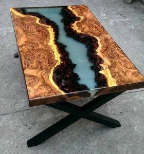 Столы Слэб из дерева с эпоксидной смолой