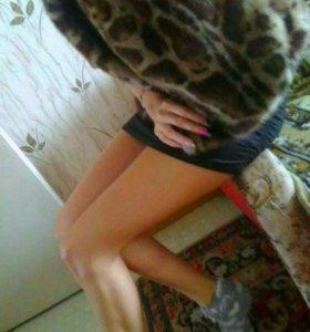 Меховая леопардовая жилетка