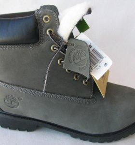 Ботинки Зимние Timberland Мех Нубук Серые 44
