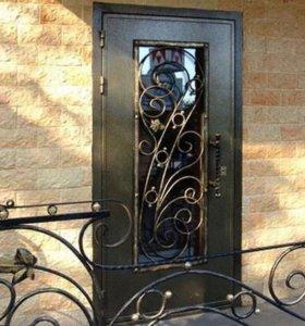 Сейф двери с художественной ковкой