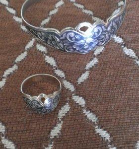 Кольцо и браслет серебро