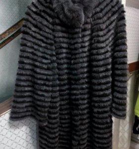 Пальто норковое на вязанной основе р.48-50