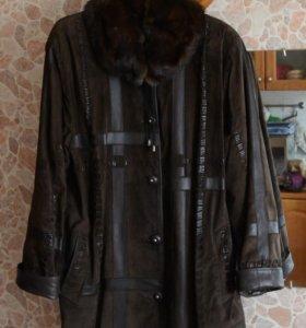 Замшевое пальто с отд.натуральная кожа, 54/56 р