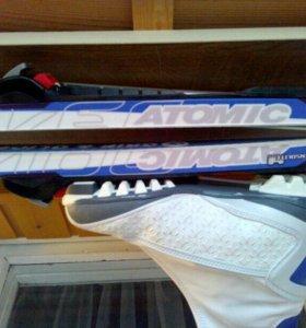 Лыжи Atomic mover с ботинками Fischer и палки