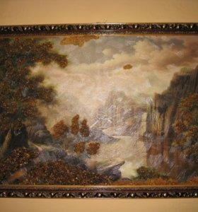 Картина с янтарём 100 см * 70 см.