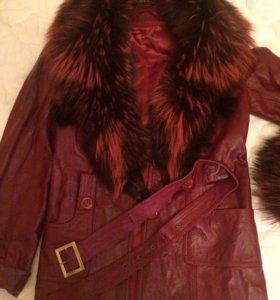 Куртка зимняя кожаная размер 42-44