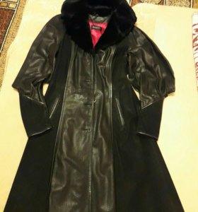 Кожанный плащ-пальто