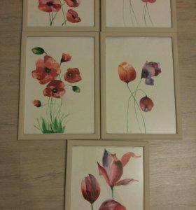Набор акварельных рисунков. Цветы