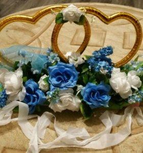 Свадебные украшения на машину (кольца)
