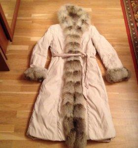 Итальянское пальто на синтепоне мех лиса 42 44 р