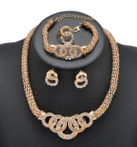 Набор(колье,серьги,браслет,кольцо)