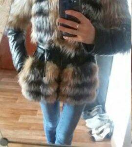 Зимняя куртка из меха чернобурки