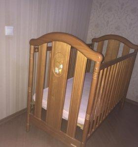 Детская кроватка micuna + матрас + простыни икеа