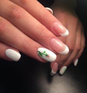 Наращивание ногтей+маникюр