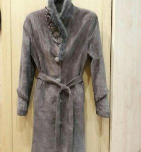 Пальто кожаное, демисезонное