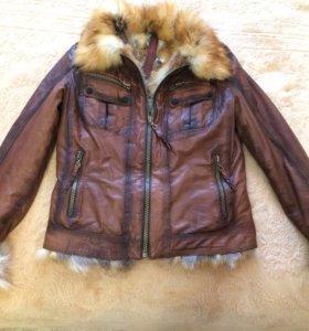 Кожаная куртка (натуральная) с мехом лисы 🦊