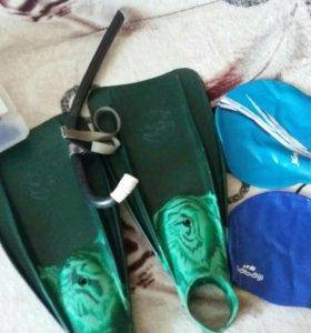 Ласты, трубка и шапочки+очки
