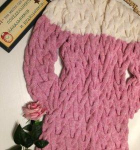 Вязаный кардиган розовый зефир-ручная работа