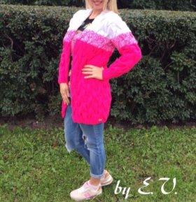 Вязаный кардиган ярко розовый-ручная работа