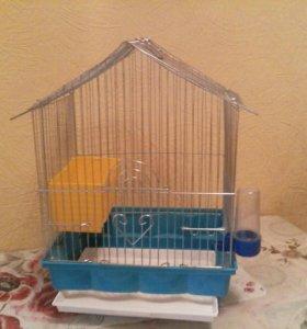 Клетка для птиц. Выдвижной поддон, поилка, кормушк