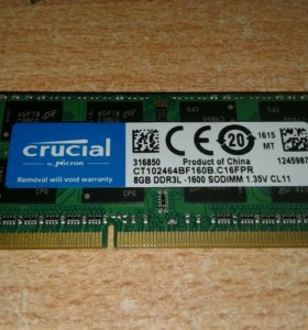 ОЗУ DDR 3 8Gb для ноута