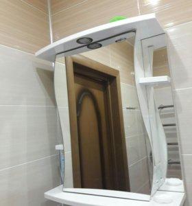 Шкафчик для ванной с подсветкой и розеткой