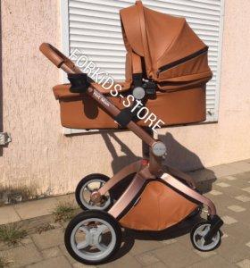 Коляска Hot Mom коричневая полностью кожа 2в1