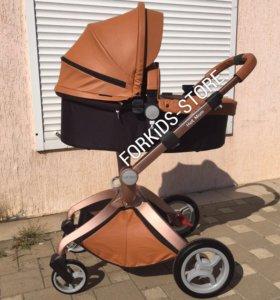Коляска Hot Mom 2в1 коричневая комбинированная