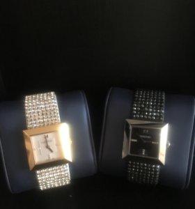 Часы с чёрными стразами SWAROVSKI + серьги