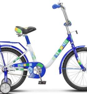 """Велосипед Stels 14"""" Flash бело-синий"""