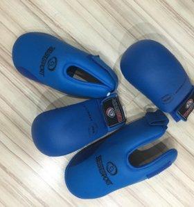 Перчатки боксерские детские к/з+ лапы, синие