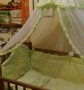 Детская кроватка с балдахином, держателем и матрас