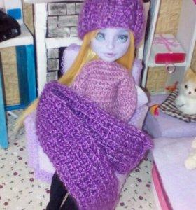 Шапочка и шарфик для кукол Монстер Хай