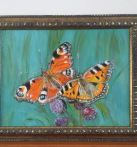 """Картина в раме """"Оранжевые бабочки"""""""