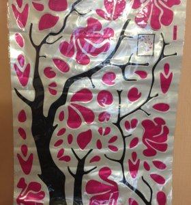 """Наклейка: """"Дерево с цветами""""."""