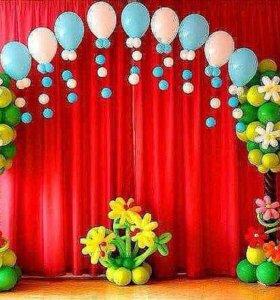 Оформление праздника воздушными шарами.