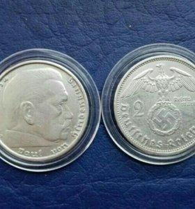Монета 2 марки 3 рейх