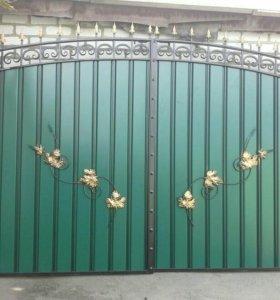 Ворота и калитка с элементами художественной ковки