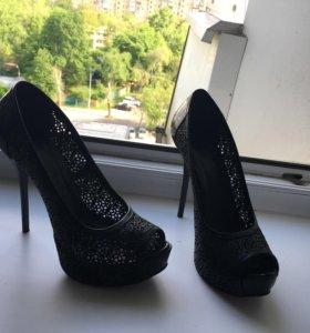 Кружевные туфли, натуральная кожа, 36 размер