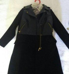 Пальто косуха косая молния чёрное
