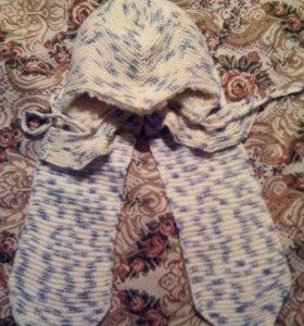 Шапка и шарф , зимний комплект.Подкладка- мех.
