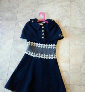 Комплект для девочки пальто+ сарафан+ пелерина