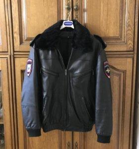 Кожаная мужская куртка для полиции
